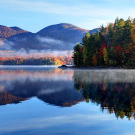 fog over a lake in vermont