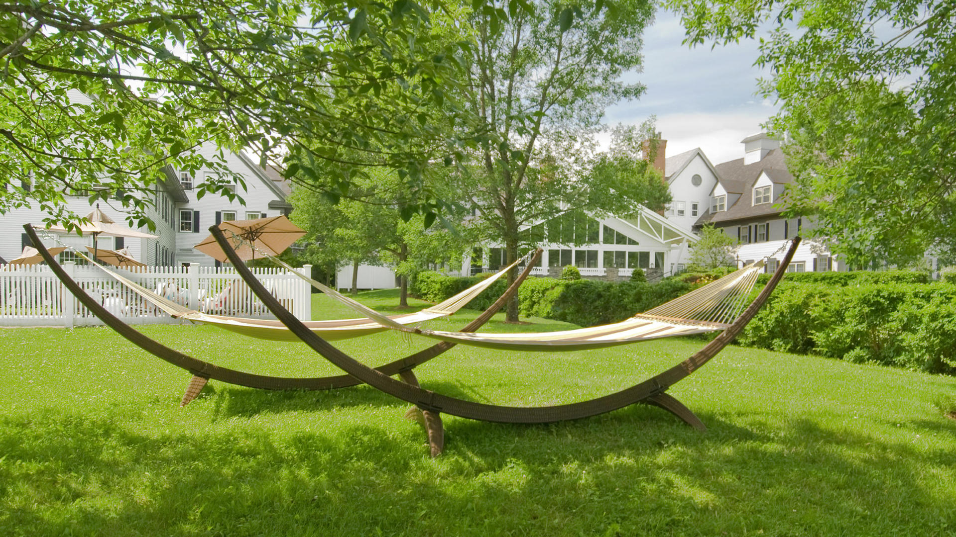 row of hammocks