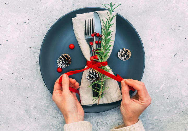 holiday dinner plate with sage