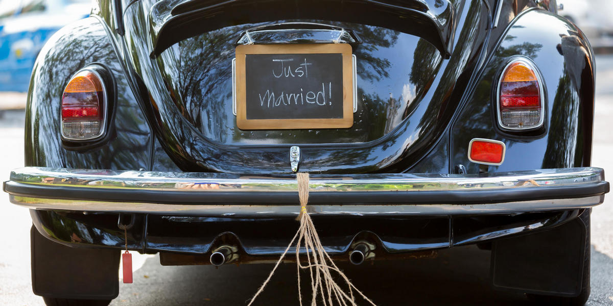 Just Married on Car